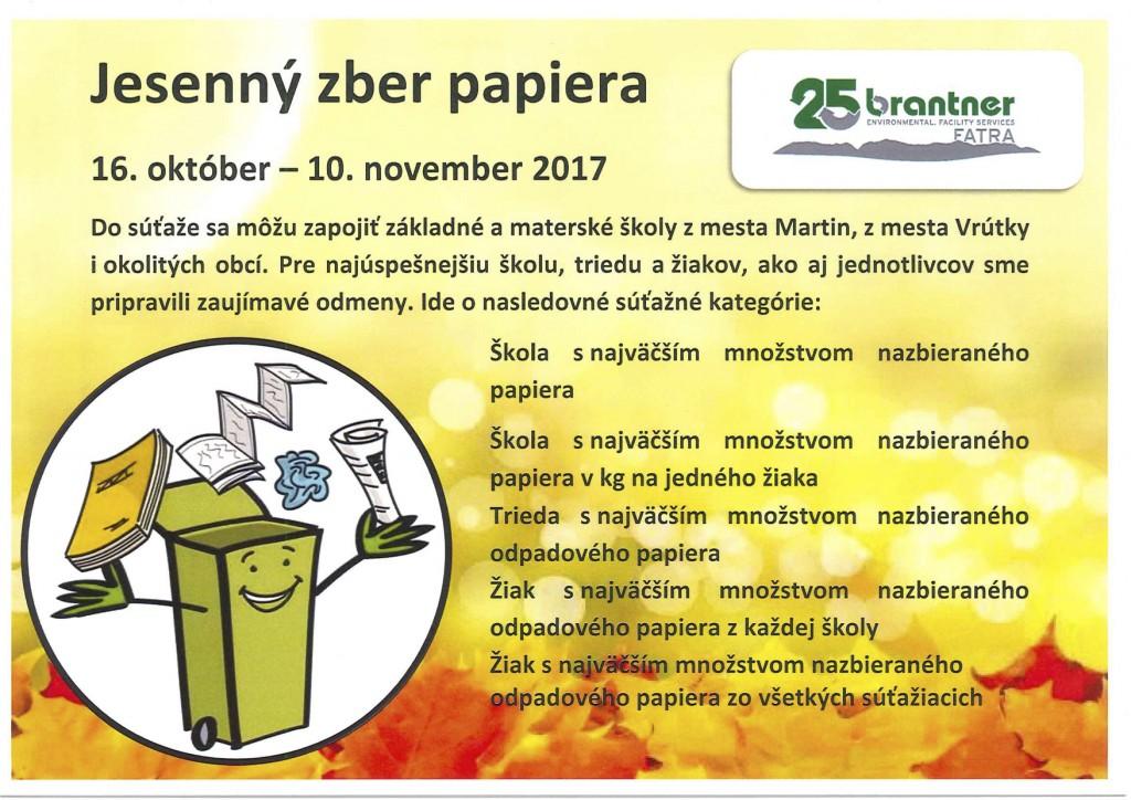 leták Jesen zber papiera